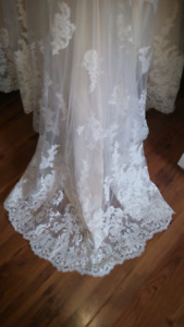 Beautiful Gold Ivory Lace Wedding Dress.
