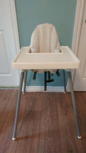 Ikea highchair with padded support pillow and cover