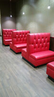 CUSTOM MADE RESTAURANT BOOTH TUFTED RED