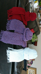 Hand knit scarfs and hats