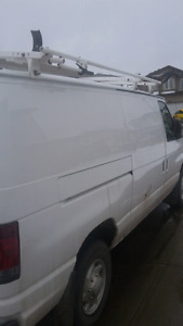 Ford 2007 cargo van E250 only 89900 km with roof rack & shelving