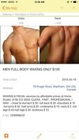 Men full body wax only $ 130