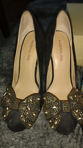 Material Girl black stilletos with gold studded bow