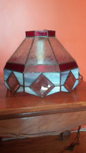 Custom made stained glass swag lamp.