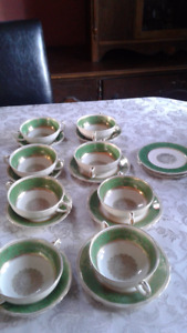 Grindley Warwick Cream Petal soup bowls and saucers