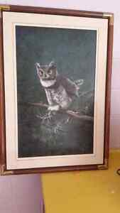 Karl Illini  original 1988 Owl with mouse. Peterborough Peterborough Area image 1