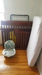 Crib +mattress +chair