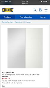 Ikea Pax white glass doors x 2