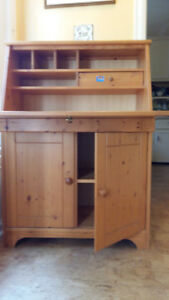 Lovely Knotty Pine Hutch Desk with drop-down front
