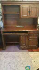 Desk with hutch, drawer units and filing cabinet