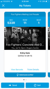 2 Foo Fighters tickets Rogers Centre