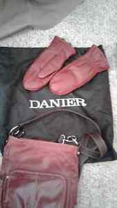 Red Danier leather purse and leather mitts