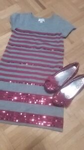 Sparkly childrens place 7/8 dress and sz 1 shoes