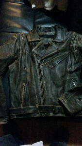 two leather motorcycle jackets