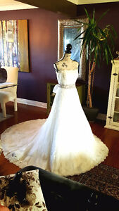 WEDDING DRESS, SILK BEADED BELT AND VEIL...DRY CLEANED AND READY