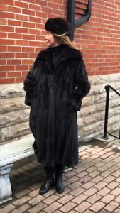 Genuine full length mink coat in mahogany with matching mink hat