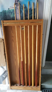 Pool Cues and holder