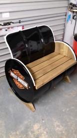 Harley Davidson seat bench and clock