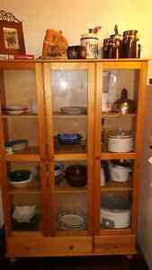 standing wood glass display cabinet