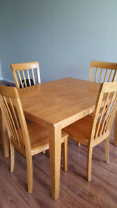 Dining table and chairs, solid wood