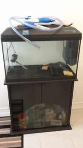 FISH TANK WITH STAND, EQUIPMENT AND SUPPLIES