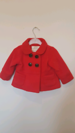 Mothercare baby red duffle style coat