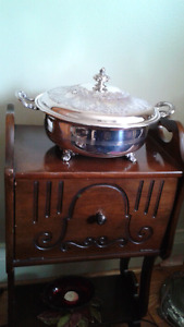 Silver plated antique servings bowl with lid.