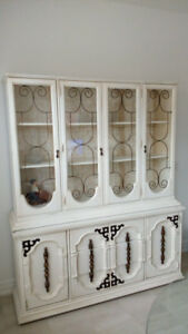Antique Shabby Chic China Cabinet & Hutch Painted White