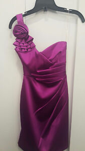 Magenta One Shoulder Evening Dress