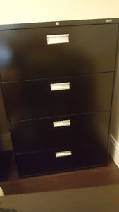 Large 4 drawer black filing cabinet - excellent condition