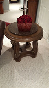 Round Wooden table with a MARBLE TOP