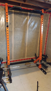 Squat rack with bar and 2 50lbs steel weight
