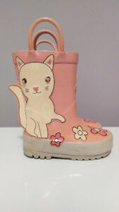 Cat Rubber Boots with Flowers, Baby Girl, Size 5, Joe Fresh