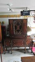 super antique walnut sideboard/china cabinet