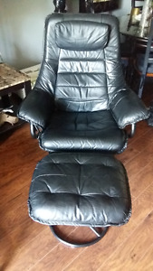 Black Leather  Recliner and Ottoman with Metal Base swivel