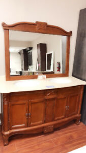 "60"" Oak solid wood + Granite top vanity CLEARANCE!!"