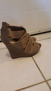 Brand new Taupe wedge booties sandal