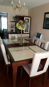 Nice real wood dining table ans matching cabinet