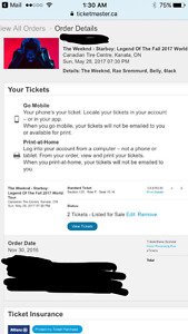 2 Tickets for The Weeknd Starboy Tour