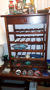 TABLE WITH DRAWER AND WINE RACK