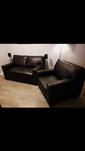 Beautiful black leather love seat and accent chair