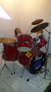 PEARL DRUM KIT WITH 6 SYMBOLS, HIGH HAT, STOOL, AND EXTRAS