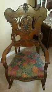 antique reupholstered quarter cut rocking chair, applied carving Cambridge Kitchener Area image 1