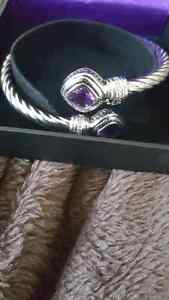 Sterling Silver and Amethyst Bracelet and Necklace - New in box