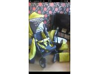 Full pram set including 2 different styles of pram with car seat and bag