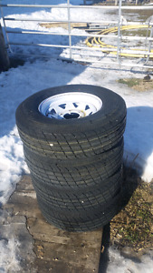 """4 new tires with rims, trailer tires 15"""""""