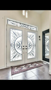 Decorative Wrought Iron and Stained Glass Door Inserts Sale