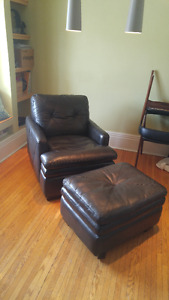 Like New Leather Chair and Ottoman