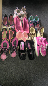 SOLD 10 pairs of girls size 1 shoes.  2 pairs size 2 fit smaller