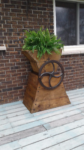 Antique root grinder, planter/plant stand